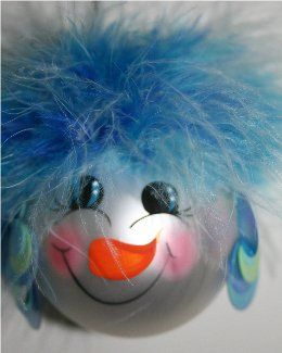Snowman Ornament with blue varigated hair of mirbeau feathers, lime green and neon blue earrings and a handpainted face with rosy cheeks