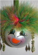 Snowman Ornament with lime green and pink multi-colored hair and matching earrings with a handpainted face and rosy cheeks
