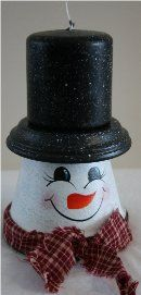 Handpainted snowman made from a terra cotta pot and matching saucer.  He has a handpainted face, rosy cheeks and a country bow as a finishing touch