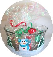 "Snowmen & Christmas Trees Handpainted on ""Anchor"" Candy Dish with Aqua Accents"