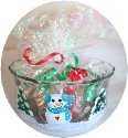 Snowmen Handpainted on a Candy Dish with Aqua Accents