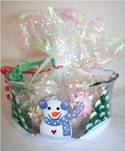 "Snowmen and Christmas Trees Handpainted on ""Anchor"" Candy Dish with Country Blue Accents"