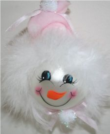 Baby Girl Snowman Ornament with Baby Pink Fleece Hat and Mirbeau Feathers around her face
