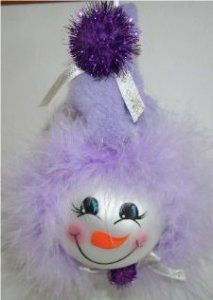 Snowman Ornament wearing a Purple Fleece Hat, Glitter Pompoms and a Holiday Ribbon