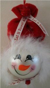 Mrs. Claus Snowman Ornament with Red Fleece Hat Accented with Mirbeau Feathers and Holiday Ribbon