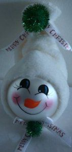Snwoman Ornament with White Fleece Hat, Glitter Pompoms and Holiday Ribbon