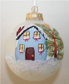 "House for new home owners handpainted on a 2 5/8"" frosted ornament"