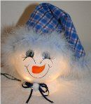 Handpainted Mrs. Snowman Nightlight with Fleece Hat and Mirbeau Feathers