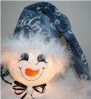 Handpainted snownman nightlight with multi-colored blue fleece hat trimmed in white mirbeau feathers