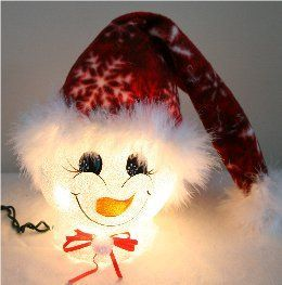 Handpainted Snowflake Snowman Nightlight with red fleece hat.  There are snowflakes imprinted in snowflakes red hat which is trimmed in white mirbeau feathers