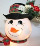 Handpainted Snowman Nightlight with decorative Christmas accent