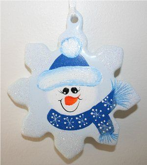 Handpainted Snowman on Porcelin Snowflake with Cayman Blue Hat and Scarf