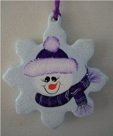 Handpainted Porcelin Snowflake with Purple Hat and Scarf