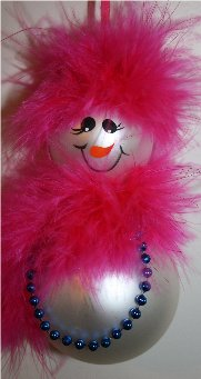 Snowman Ornament created from two glass Christmas balls, trimmed with hot pink mirbeau feathers for her hair and matching mirbeau feathers around her neck for a scarf, accented with blue pearls around her neck
